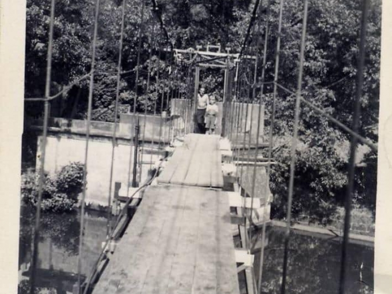 Old suspension bridge at Crumpwood