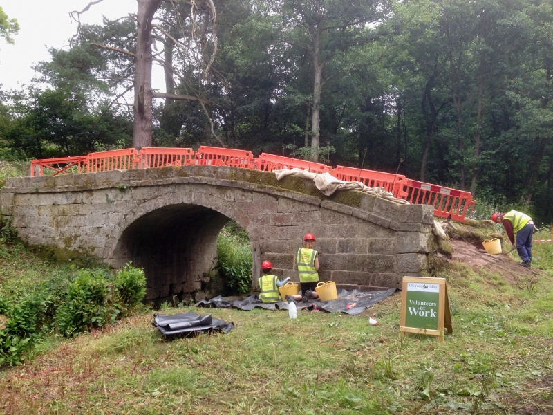 WRG camp at Br70, July 2014 - volunteers repointing the bridge