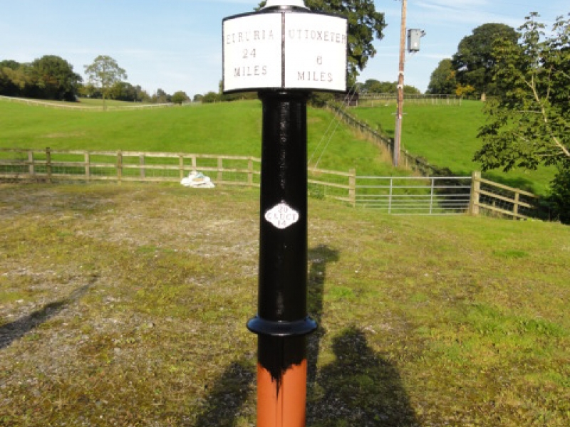 Painted milepost 21 before installation