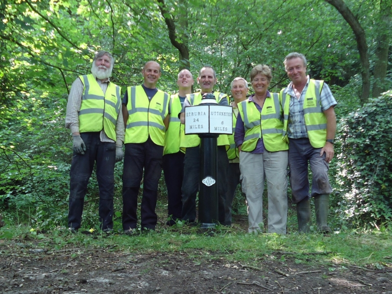 Volunteers installing milepost 24, 10th June 2016