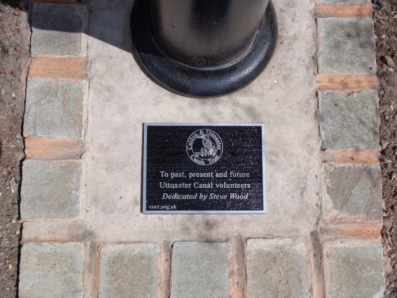 Plaque with dedication to Uttoxeter Canal volunteers